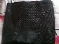 Zara faux leather black bodycon mini skirt size 6/8