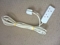 Extension Lead Cable 2 two gang white sockets long cable