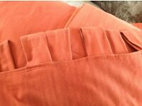 Curtains suitable for French doors, rust coloured wool with tab tops