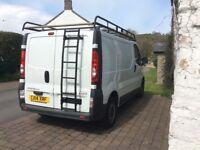 Roof rack with rear ladder for Vivaro SWB 2001-14 model.