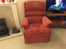 Convertible armchair. Red chenille.