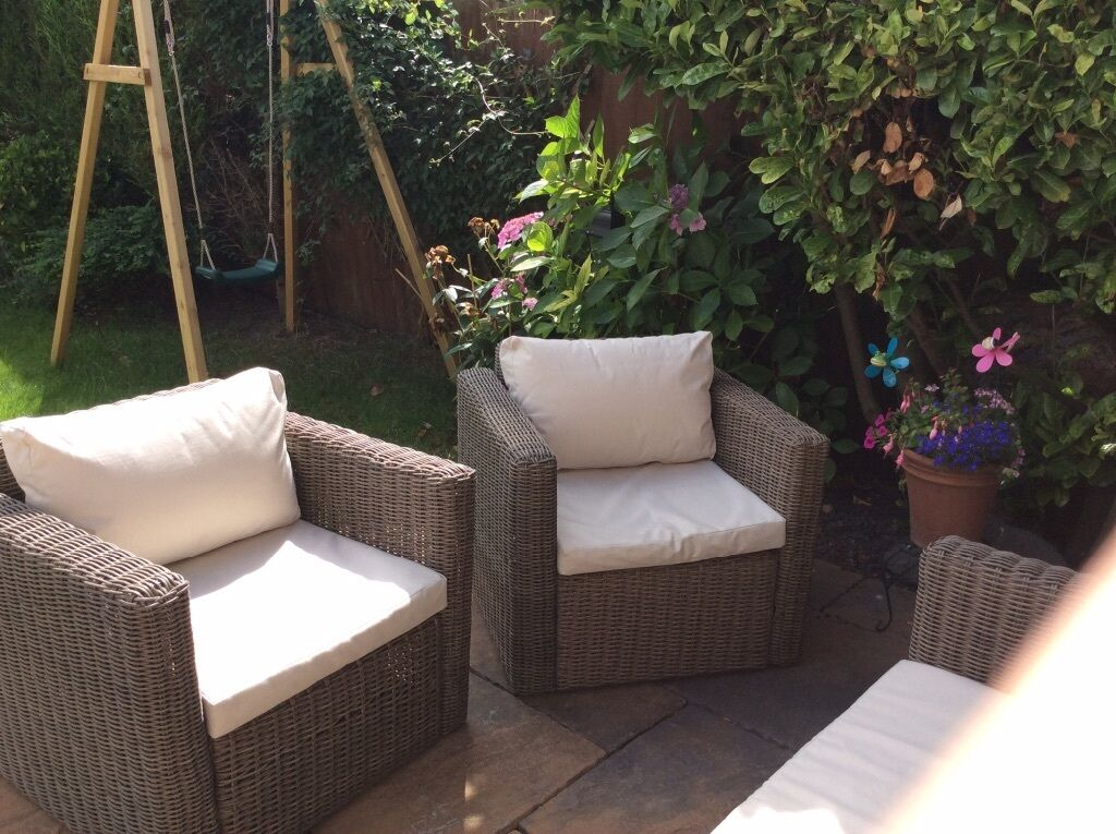 Brand new B & Q Soron Rattan effect sofa and two chairs ...