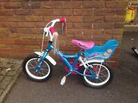 "Girls 14"" wheel Apollo Bike with stabilisers"
