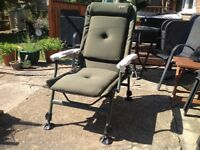 New high back Carpzone fully padded reclining fishing chair with arms.