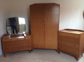Lovely retro bedroom suite, wardrobe, chest of drawers and dressing table