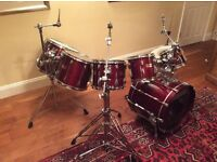 Yamaha Recording Custom Drum Kit with bass drum, snare, 5 toms & all hardware