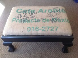 Footstool, upholstered in coffee sacking