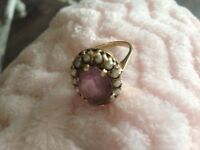 VINTAGE 9ct Gold Amethyst and Pearl Ring SIZE M
