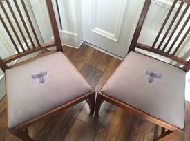 Pair of vintage tartan and velvet upholstered chairs