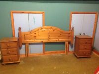 Pine Kingdize Headboard and Bedside Tables
