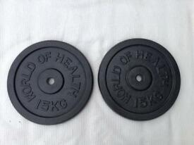 2 x 15kg World of Health Standard Cast Iron Weights