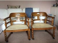 Two wooden chairs. Good looking chairs and very comfortable. Could be used as an upcycle.