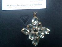 Green Amethyst (Prasiolite) 48 carat weight in 9 carat gold pendant (NEW)