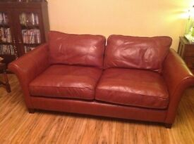 Rust coloured leather sofas 4 seater and 3 seater