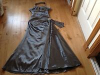 Prom dress gorgeous silver/grey with beading size 8