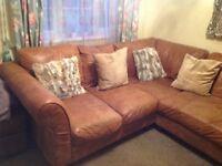 Corner leather sofa for sale - Tan