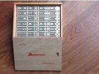 DOMINO SET, 91 DOMINOES, DOUBLE TWELVE SET, WOODEN BOX, NEW UNOPENED, IVORY AND BLACK STYLE