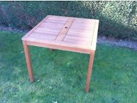 SOLID WOOD SQUARE GARDEN TABLE - FSC EUCALYPTUS - OUTDOOR PATIO FURNITURE - £74.95
