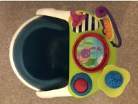 Mama and Papas Baby Snug seat in teal with removeable tray and toy set