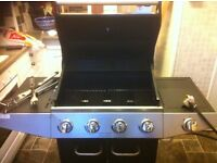 4 burner gas barbecue, gas canister & BBQ cover