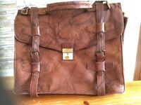 Authentic leather briefcase with extra shoulder strap