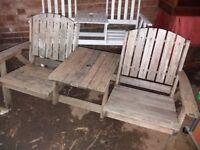 Vintage oak garden bench with integral table