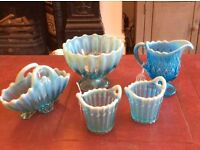 Victorian Blue Pearline Glass - Fluted bowl, milk jug, two little baskets and large folded basket