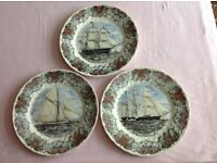 Set of 3 lovely decorated plates, plus a Japanese designed plate