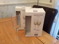 4 Denby Monsoon White Wine Glasses