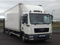 2013 MAN TGL SERIES 7.180 WITH BOX BODY AND TUCK AWAY TAIL LIFT.