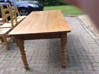 Large pine farmhouse dining table