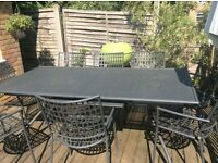 Emu Athena metal garden table and 8 chairs VGC 1mx2m extends to seat 12. Collection only.