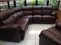Lovely recliner leather corner sofa plus matching chair