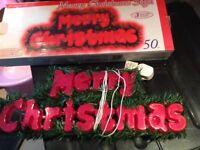 Merry christmas illuminated sign