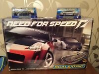 Scalextric 'Need For Speed' racing car set with 2 extra cars (HM Costguard LandRover & Ferrari F430)