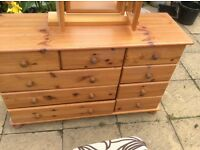 Pine Chest of Drawers with mirror and stool