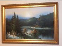 Beautiful Oil Painting of Lake Scene