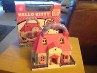 Hello Kitty bundle - Mini doll house, soft toy, necklace & headband