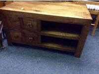 Chunky style fruitwood coffee table/ tv stand