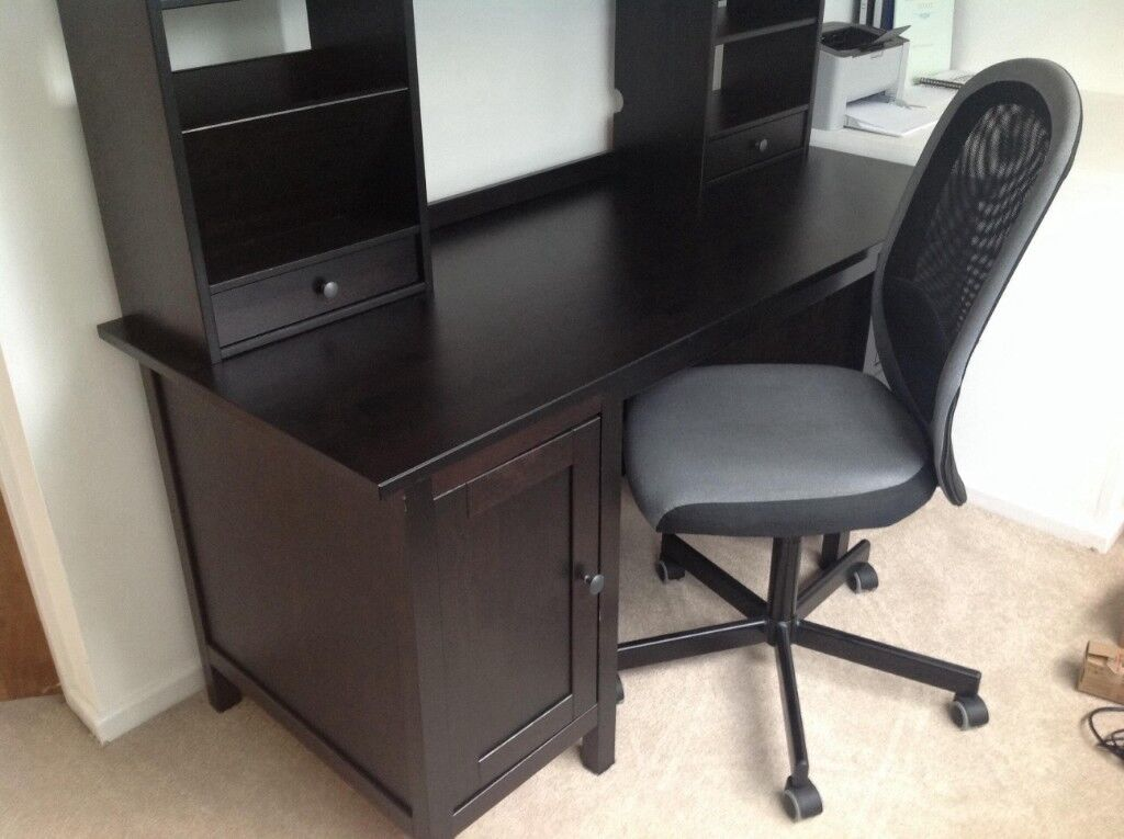 Ikea Hemnes Desk With Add On Unit Dark Wood Stain Office And Chair