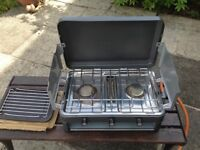 SUNNGAS DOUBLE BURNER AND GRILL CAMPING STOVE