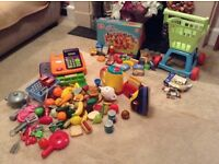 Toy food, toaster, kettle, iron and other items