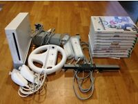 White Nintendo Wii Bundle Package, Console, Nunchucks, Games, Controller, Steering Wheel, Mario Kart