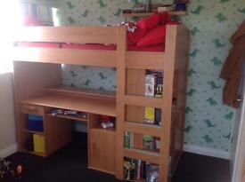 High bed with desk & wardrobe