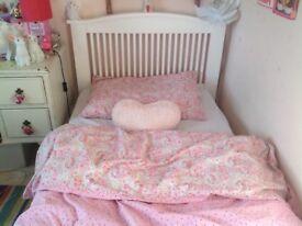 Children's White Slated Wooden Finish Single Bed Ikea