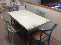 VINTAGE STYLE 140 CM TABLE AND 4 CHAIRS