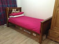 Single bed frame and mattress