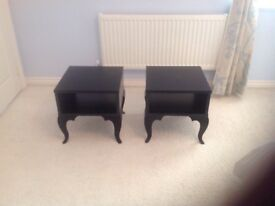 Pair of IKEA black wood bedside tables