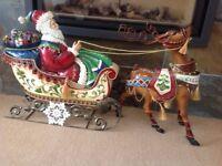 Large metal santa in sleigh with reindeer 110cm long 60 cm high