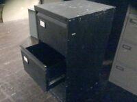 Black Metal Three Drawer Filing Cabinet